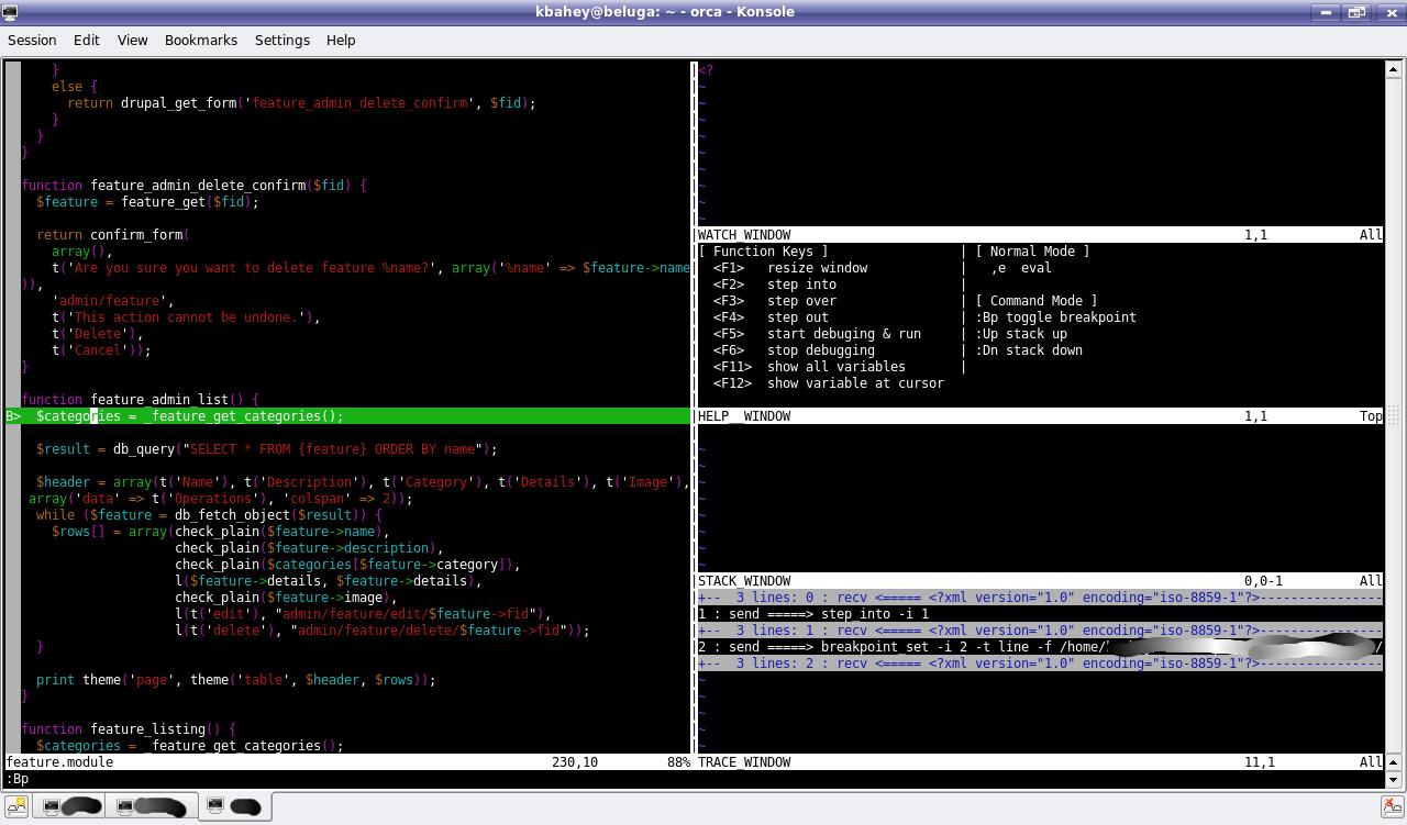 Using vim and xdebug DBGp for debugging Drupal (or any PHP
